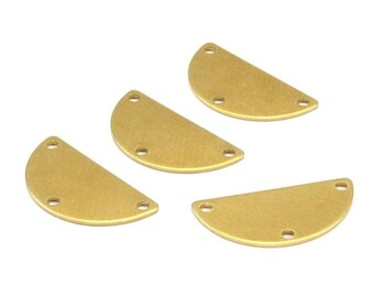 Brass Circle Blank, 24 Raw Brass Semi Circle Blanks With 3 Holes (25x12.5x0.80) A0882