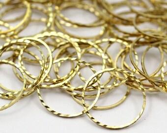 Textured Brass Charm, 50 Cutting Raw Brass Circles (16mm) A0585