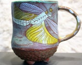 Large Praying Mantis Ceramic Mug, bug pottery, sgraffito carved and handpainted