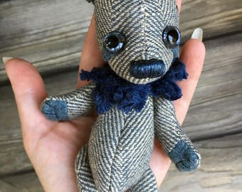 "Teeny tiny miniature 6"" artist teddy bear super floppy blue cotton woven"