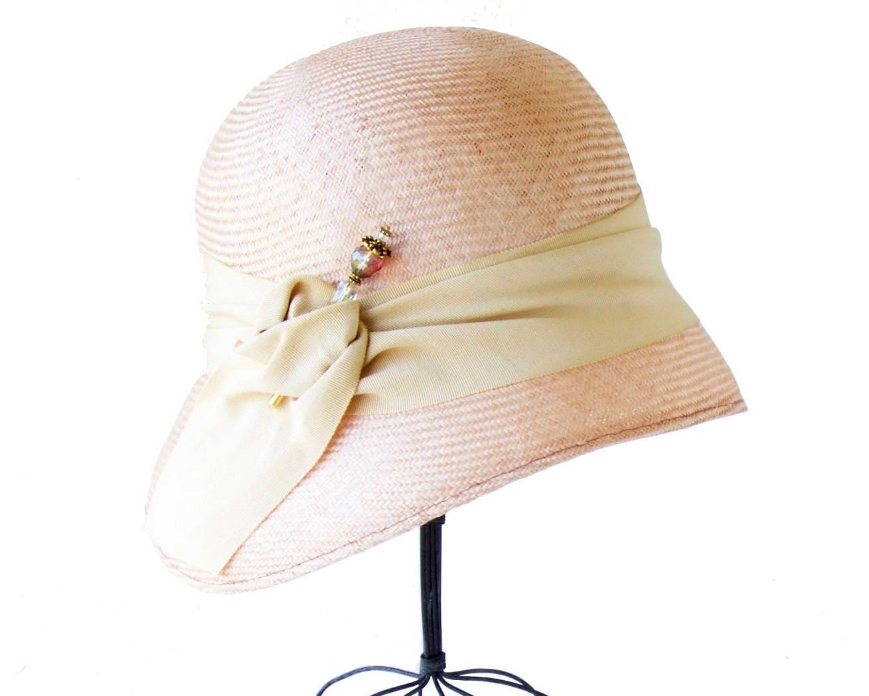 Straw Cloche Hat Women's Straw Hat Spring Fashion Spring Accessory 1920s  Flapper Hat Great Gatsby Hat