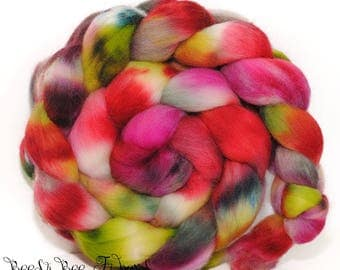 ARACARI - Corriedale Wool Roving Hand Dyed Hand Painted Combed Top Spinning Felting fiber- 3.9 ounces