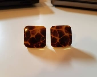 Two Small Laurey Tortoise Shell Square Knobs