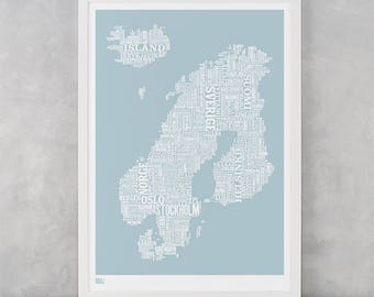 Nordic Europe Type Map Screen Print, Nordic Europe Font Map, Nordic Europe Wall Art, Nordic Europe Wall Poster, Nordic Europe Word Map