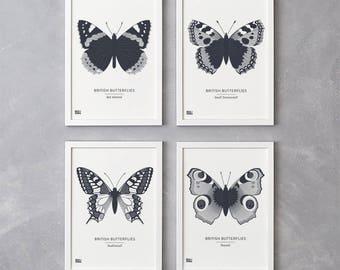 Set of 4 British Butterflies Screen Prints in Sheer Slate, Nature Wall Art, Butterfly Wall Art, Animal Wall Decor, Butterfly Art Print