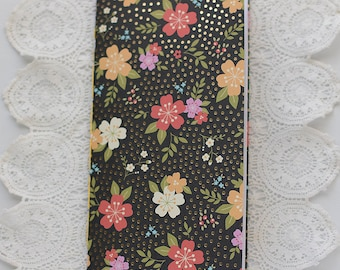 Black and Floral Traveler's Notebook with Pockets Insert