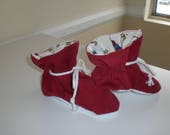 Red Garnet corduroy baby tv booties/soft sole shoes SIZE LARGE