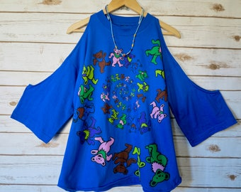Grateful Dead Dancing Bears Bear Blue Cut Out Off The Shoulder Oversized Hippie Boho Upcycled Tshirt Tee Top Shirt Womens Clothing