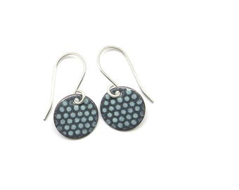 Small Gray Earrings with Mint Polka Dots - Small Gray Dangle Earrings - Lightweight Earrings with Sterling Silver Earwires