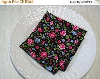ON SALE Cloth Napkins Pink Blue Floral on Black Set of 6