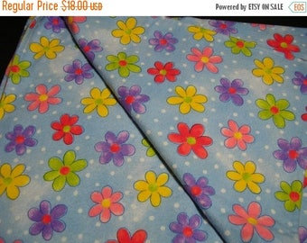 CLEARANCE SALE Cozy Baby Blanket Flannel Light Blue with Bright Flowers
