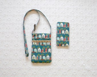 Blue Beach Huts Crossbody Phone Bag Small Purse Sunglass Case Set