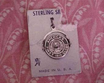 Vintage Sterling spinner Charm America's First 1810 Globe Bradford Vt
