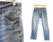 "28"" X 28"": Vintage 80's LEVI Strauss 501 XX Unisex Straight Leg Medium Wash Distressed Faded High Waist Men's or Women's Denim Jeans"
