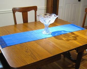 Hand Woven Blue Table Runner Hand Woven Dresser Scarf Buffet Scarf Hand Woven Coffee Table Runner Blue Herringbone Hand Woven Table Runner