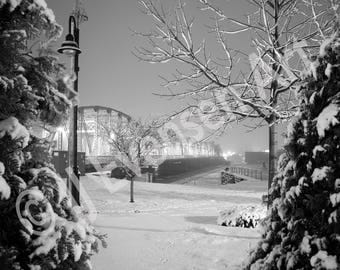 Fine Art 11x14 Print Snowy Bridge with Trees