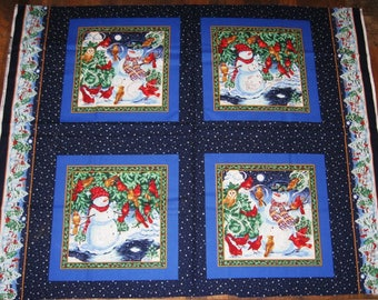 Red Cardinal and Snowman Fabric Panel - 4 Squares - Winter Scene