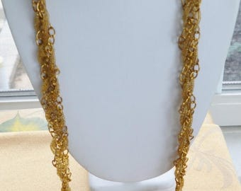 """ON SALE Pretty Vintage Woven Gold Glass Seed Beaded, Gold tone Chain Necklace, Adjustable, 36""""-46"""""""