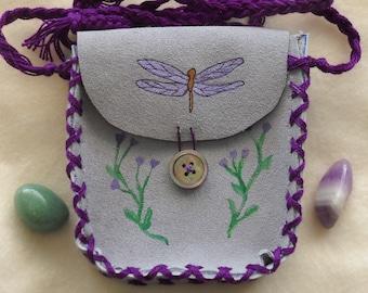 Dancing Dragonfly Medicine Bag, Suede Spell Bag