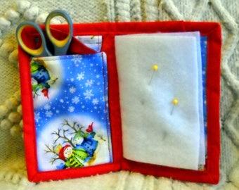 Snowmen on Parade Needle Book, Needle Case, Hand Sewing Organizer