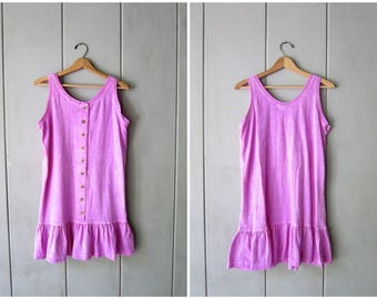 90s Minimal Tunic Top Pigment Dyed Purple Mini Dress Vintage Button Front Summer Sporty Dress Swimsuit Coverup Beach Dress Womens Medium