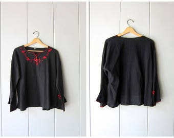 Black Red Mexican Blouse Embroidered Floral Top Long Sleeve Slouchy Ethnic Bohemian Hippie Mexican Blouse Top Vintage Womens XL Large