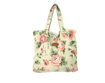 Vintage Floral Print Bag Double Strap Boho Travel Shoulder Tote Suitcase Gitano Purse Pale Green with Pink Flower Pattern School Travel Bag