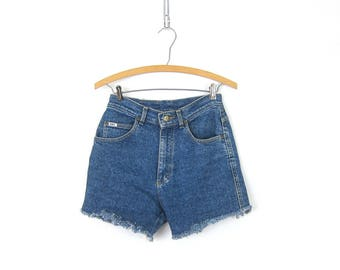 80s Blue Jean Shorts High Waist Cut Off LEE Denim Shorts Vintage 1980s MOM Shorts Frayed Hipster Boho Womens Size 28 inch waist Small