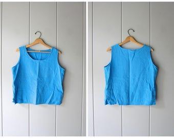 Basic Blue Cotton GAUZE Tank Top MINIMAL Boxy Tee Oversized Vintage 80s Textured Cotton Slouchy Top Boxy Boho Hipster Womens Medium Large