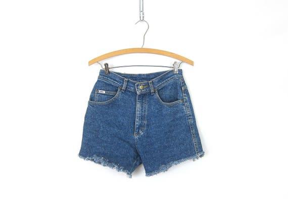 80s Blue Jean Shorts High Waist Cut Off LEE Denim Shorts Vintage 1980s MOM Shorts Frayed Hipster Boho Womens Size 28 inch waist Small