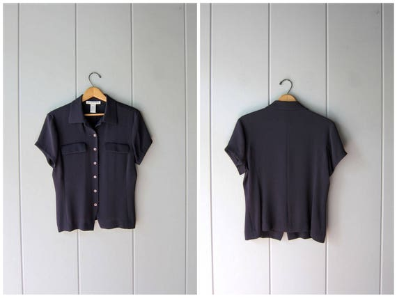 Minimal Dark Blue Rayon Blouse Button Up Casual Office Blouse Cropped Short Sleeve 90s Modern Basic Top Vintage Womens Medium size 8