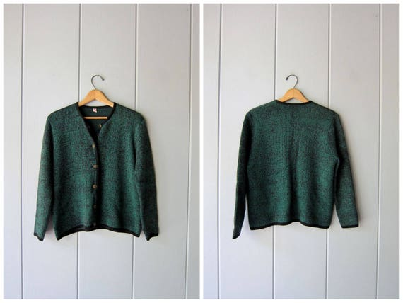50s Wool Sweater Button Up Cardigan Marled Wool Sweater Green Black Boxy Crop Sweater Vintage 1950s Preppy Modern Sweater Womens Large