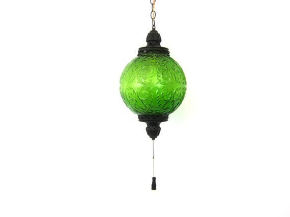 vintage Green glass Globe Swag Lamp Hanging Chain Light 1970s gothic hanging swag lamp Retro Home Decor Lighting