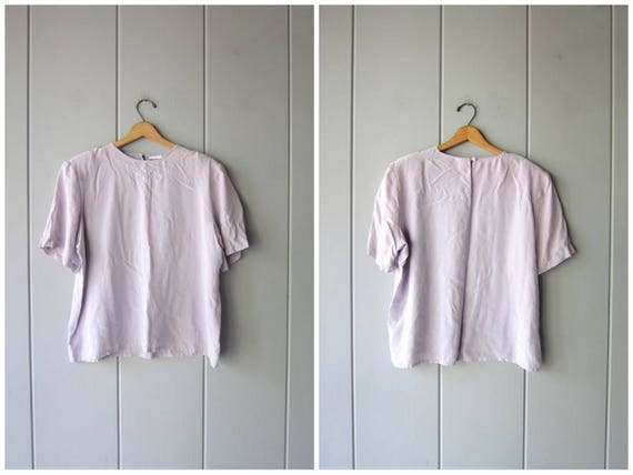 80s Silk Top Boxy Silk Tee Grey light Purple Minimal Silk Blouse Vintage Oversized Silk top Minimal Modern Tee Womens Size 18 Large XL
