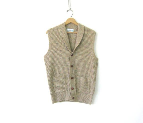 Oatmeal Knit Vest Sleeveless Sweater Fishermens Button Up Grandpa Sweater with Pockets Men's Size Medium
