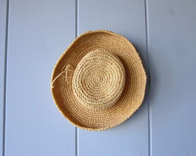 Wide Brim Raffia Hat Classic Wide Turn Up Brim Raffia Straw Hat Thick Woven Summer Hat Garden Natural Womens Small Medium