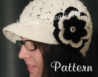 CROCHET PATTERN Newsboy hat Adult Teen PreTeen Toddler cap beanie girl girls lady woman women ladies flower skill level intermediate
