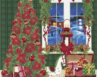 "24"" Christmas Fabric Panel - Holiday Tree Toy Train Green - Timeless Treasures"