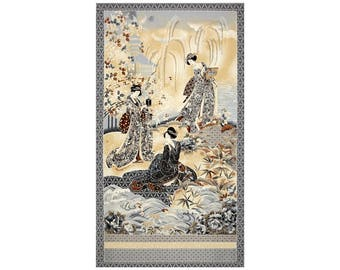 "24"" Fabric Panel - Robert Kaufman Imperial Collection Geisha Wallhanging Antique"