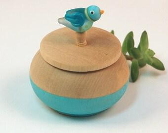 Tiny Wood Trinket Box with  Lampwork Glass Turquoise Birdie Knob/Finial