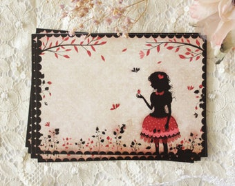 "Postcard - illustrated postcard - Miss SHadow - silhouette - strawberry - girly - ""Strawberry Field"""