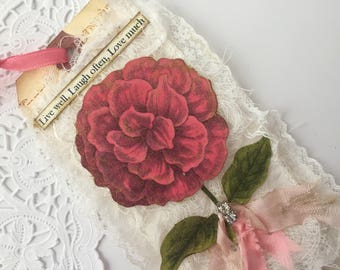 Vintage Rose Lace Tag, Mixed Media Art Tag, French Gift Tag