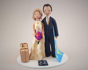 Bride & Groom Custom Handmade Travel Theme Wedding Cake Topper