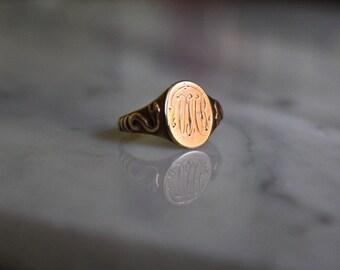 VICTORIAN SNAKE SIGNET 10k rosegold antique vintage ring size 3 crica 1870s