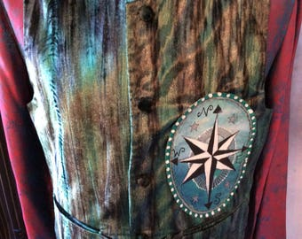 SALE Gothic vest victorian waistcoat gypsy sailor boho goth compass pirate nautical size 38 chest coupon code RGCSALE