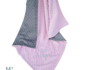 SALE Light Pink and Gray Minky Dot Baby Blanket - Pink and Gray Minky Dot Blanket Can Be Personalized