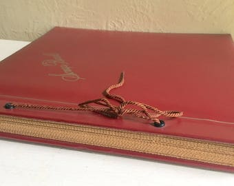 Antique Dark Red Scrapbook Photo Album Book for Photographs and more Tan Pages - Ready to fill!
