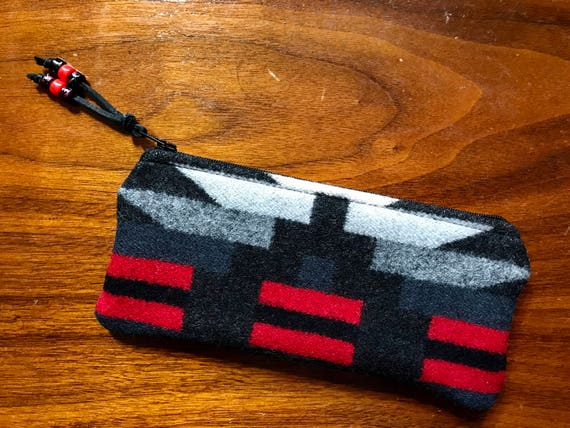 Wool Sunglasses Case / Glasses  Case / Tampon Case / Zippered Pouch Black & Red