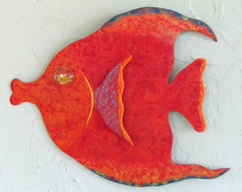 Metal Sculpture Fish Wall Art Red Orange Recycled Metal Tropical Wall Decor Beach House Marine Coastal Art 7 x 9