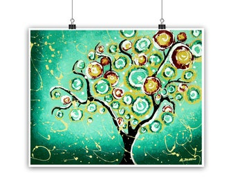 Tree Print Woodland Decor, Whimsical Tree Wall Art, Green Wall Art, Tree of Life Art, Nature Inspired Home Decor